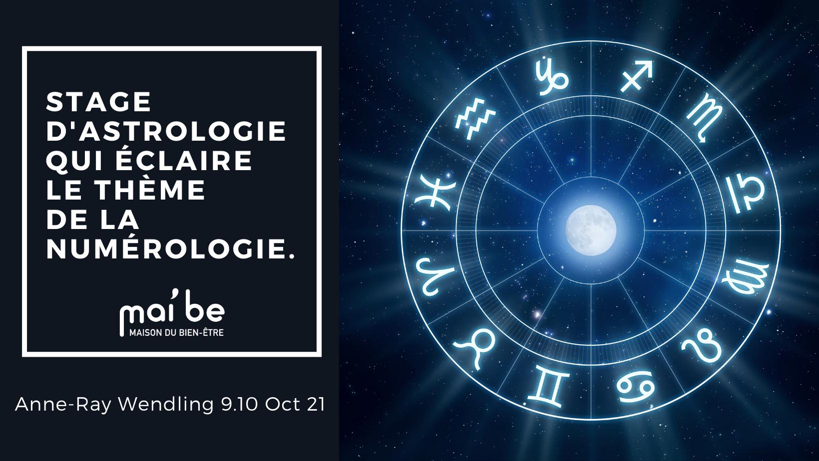Stage d'astrologie Le samedi 9 Octobre de 14 h 30 à 17 h et le dimanche 10 Octobre de 10 h à 17 h :